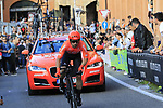 Jakub Mreczko (ITA) CCC Team rounds the hairpin to commence the San Luca climb during Stage 1 of the 2019 Giro d'Italia, an individual time trial running 8km from Bologna to the Sanctuary of San Luca, Bologna, Italy. 11th May 2019.<br /> Picture: Eoin Clarke | Cyclefile<br /> <br /> All photos usage must carry mandatory copyright credit (© Cyclefile | Eoin Clarke)