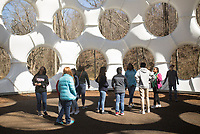 NWA Democrat-Gazette/CHARLIE KAIJO Students from Holy Family Cathedral School of Tulsa, Okla. explore &quot;The Fly's Eye Dome&quot;, Friday, March 2, 2018 at Crystal Bridges in Bentonvile.<br />