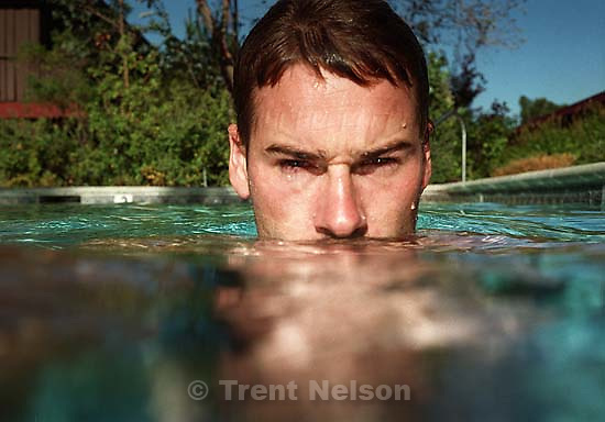 Trent Nelson in the swimming pool<br />