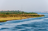 Egypt. Cruising the Nile from Kom Ombo to Luxor, passing Edfu and Esna. Cattle on the riverbank close to Gebel el-Silsila.