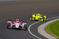 Verizon IndyCar Series<br /> Indianapolis 500 Carb Day<br /> Indianapolis Motor Speedway, Indianapolis, IN USA<br /> Friday 26 May 2017<br /> Pippa Mann, Dale Coyne Racing Honda, Simon Pagenaud, Team Penske Chevrolet<br /> World Copyright: F. Peirce Williams