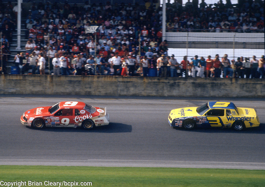 Dale Earnhardt chases Bill Elliott in the 1984 Daytona 500. (Photo by Brian Cleary/www.bcpix.com)