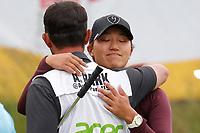 Annie Park (USA) gives her caddie a hug after finishing on the 18th hole during the ShopRite LPGA Classic presented by Acer, Seaview Bay Club, Galloway, New Jersey, USA. 6/10/18.<br /> Picture: Golffile   Brian Spurlock<br /> <br /> <br /> All photo usage must carry mandatory copyright credit (&copy; Golffile   Brian Spurlock)