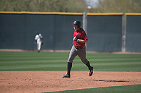Arizona Diamondbacks first baseman Austin Byler (47) rounds the bases after hitting a home run during a Spring Training game against Meiji University at Salt River Fields at Talking Stick on March 12, 2018 in Scottsdale, Arizona. (Zachary Lucy/Four Seam Images)
