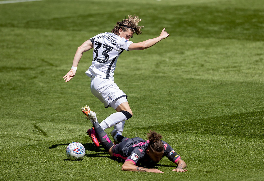Leeds United's Kalvin Phillips competing with Swansea City's Conor Gallagher (top) <br /> <br /> Photographer Andrew Kearns/CameraSport<br /> <br /> The EFL Sky Bet Championship - Swansea City v Leeds United - Sunday 12th July 2020 - Liberty Stadium - Swansea<br /> <br /> World Copyright © 2020 CameraSport. All rights reserved. 43 Linden Ave. Countesthorpe. Leicester. England. LE8 5PG - Tel: +44 (0) 116 277 4147 - admin@camerasport.com - www.camerasport.com