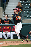 Brandon Perez #4 of the Southern California Trojans bats against the Coppin State Eagles at Dedeaux Field on February 18, 2017 in Los Angeles, California. Southern California defeated Coppin State, 22-2. (Larry Goren/Four Seam Images)