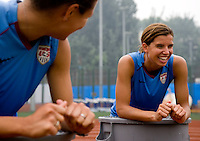 Stephanie Cox, Tobin Heath. The USWNT practiced at Beijing Normal University in Beijing, China.  The team will now move to Qinhuangdao to prepare for their first two group games of the 2008 Olympics.