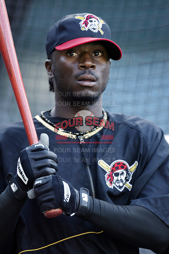 Pookey Reese of the Pittsburgh Pirates before a 2002 MLB season game against the Los Angeles Angels at Angel Stadium, in Anaheim, California. (Larry Goren/Four Seam Images)