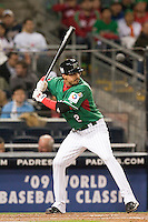 15 March 2009: #2 Edgar Gonzalez of Mexico is seen at bat during the 2009 World Baseball Classic Pool 1 game 2 at Petco Park in San Diego, California, USA. Korea wins 8-2 over Mexico.