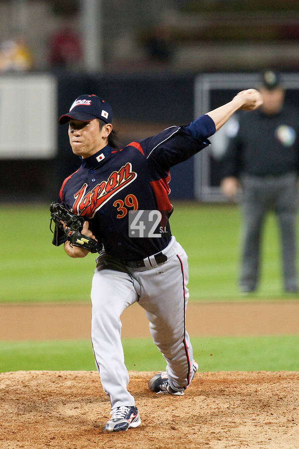 17 March 2009: #39 Tetsuya Yamaguchi of Japan pitches against Korea during the 2009 World Baseball Classic Pool 1 game 4 at Petco Park in San Diego, California, USA. Korea wins 4-1 over Japan.