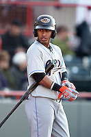 Akron RubberDucks shortstop Francisco Lindor (12) waits on deck during a game against the Erie SeaWolves on May 17, 2014 at Jerry Uht Park in Erie, Pennsylvania.  Erie defeated Akron 2-1.  (Mike Janes/Four Seam Images)