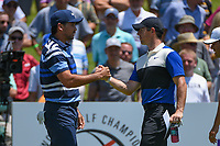 Rory McIlroy (NIR) shakes hands with Jason Day (AUS) before round 1 of the WGC FedEx St. Jude Invitational, TPC Southwind, Memphis, Tennessee, USA. 7/25/2019.<br /> Picture Ken Murray / Golffile.ie<br /> <br /> All photo usage must carry mandatory copyright credit (© Golffile | Ken Murray)