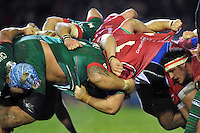 A general view of the Leicester Tigers and Scarlets packs at a scrum. European Rugby Champions Cup match, between Leicester Tigers and the Scarlets on January 16, 2015 at Welford Road in Leicester, England. Photo by: Patrick Khachfe / JMP