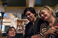 Javier and Ana. At the Cock Tavern pub after opening for Free Architecture at the Chalton Gallery, London, England, Great Britain
