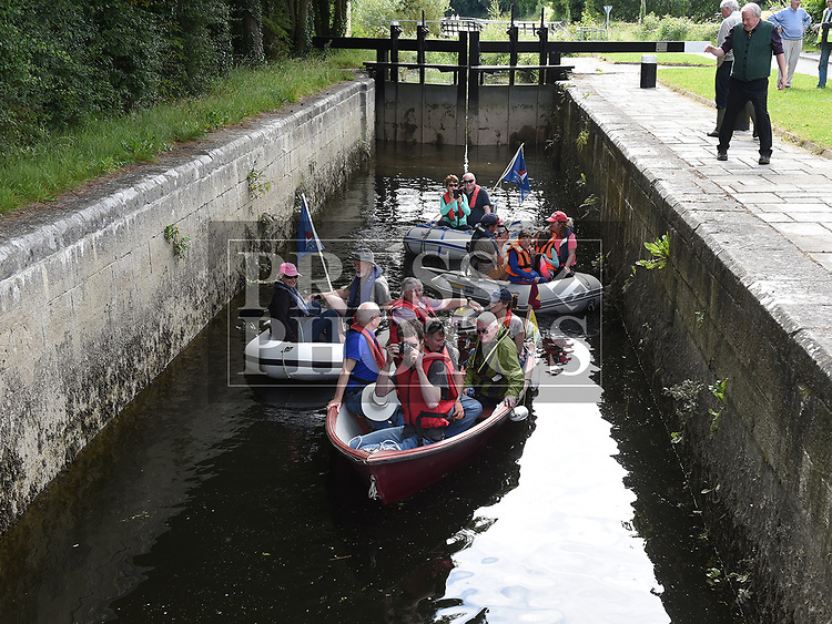 Sailors from Howth who docked at Fiddle Case Pier arrive by dingy at the Boyne Canal on their way to Oldbridge House. Photo:Colin Bell/pressphotos.ie