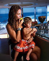 Maria Cristiana, Raul Martinez Ostos,, and their son Luca, enjoy a weekend on a 98 foot Azimut in Puerto Vallarta, for a photo shoot. Mexico 4-10-05
