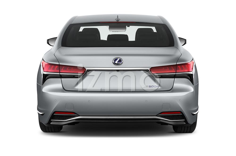 Straight rear view of a 2019 Lexus LS 500h 4 Door Sedan stock images