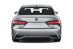 Straight rear view of a 2019 Lexus LS 500h 4 Door Sedan stock images