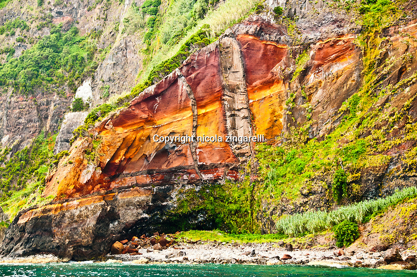 The colors of the rocks layers are quite staggering in Flores at the Azores