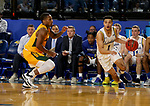 BROOKINGS, SD - JANUARY 22: Matthew Mims #1 of the South Dakota State Jackrabbits drives to the basket against the North Dakota State Bison at Frost Arena on January 22, 2020 in Brookings, South Dakota. (Photo by Dave Eggen/Inertia)