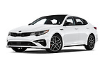 Stock pictures of low aggressive front three quarter view of a 2019 KIA Optima SX-Turbo 4 Door Sedan