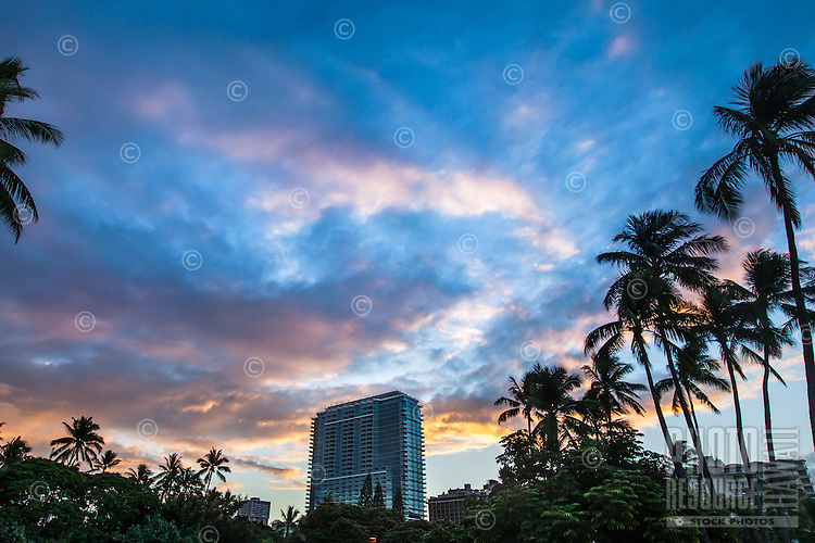 Sunrise over the Trump International Hotel & Tower, Waikiki, O'ahu.