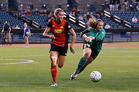 Rochester, NY - Saturday July 09, 2016: Western New York Flash forward Lynn Williams (9), Seattle Reign FC goalkeeper Andi Tostanoski (24) during a regular season National Women's Soccer League (NWSL) match between the Western New York Flash and the Seattle Reign FC at Frontier Field.