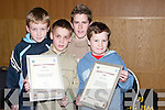 CERTIFICATES: Christopher Cunningham (Tralee), Eoin Keane (Ballymacelligott), Darragh Carmody and Ciaran Earley (Tralee) who were presented with their Handball certificates at the Handball Awards at Ballyroe Heights Hotel, Tralee, on Friday night..