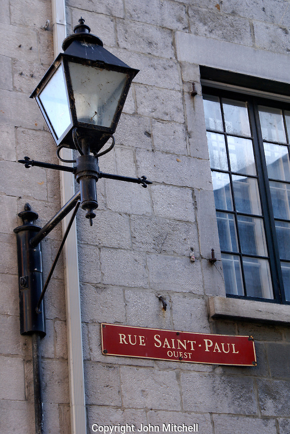 Rue Saint Paul street sign and lantern in Old Montreal, Quebec, Canada