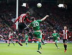 Leon Clarke of Sheffield Utd gets above Ben Davies of Preston North End during the championship match at the Bramall Lane Stadium, Sheffield. Picture date 28th April 2018. Picture credit should read: Simon Bellis/Sportimage