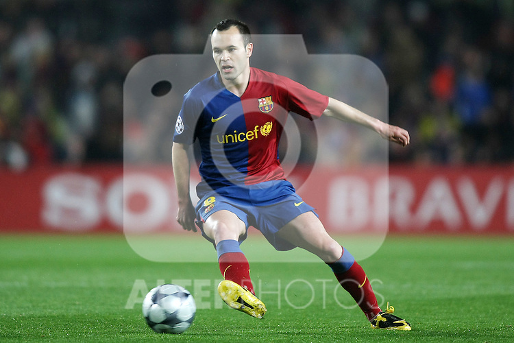 FC Barcelona's Andres Iniesta during the UEFA Champiosn League match.April 8 2009. (ALTERPHOTOS/Acero).