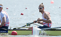 Brandenburg. GERMANY.<br /> GBR M8+. Paul BENNETT, at the start for their heat. 2016 European Rowing Championships at the Regattastrecke Beetzsee<br /> <br /> Friday  06/05/2016<br /> <br /> [Mandatory Credit; Peter SPURRIER/Intersport-images]