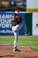 Lake Elsinore Storm starting pitcher Aaron Leasher (28) warms up before a California League game against the Lancaster JetHawks on April 10, 2019 at The Hanger in Lancaster, California. Lake Elsinore defeated Lancaster 10-0 in the first game of a doubleheader. (Zachary Lucy/Four Seam Images)