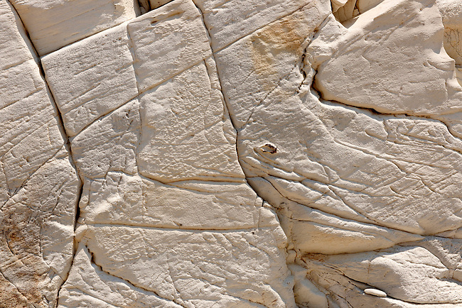 The layers of Limestone rock on Ios Island Greece
