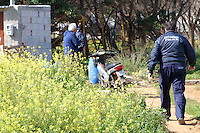 COPY BY TOM BEDFORD<br /> Pictured: Police by the outhouse where the well is located where the remains of a body have been discovered in Malia, Creete, Greece. Monday 20 February 2017<br /> Re: Police have found the remains of the body in a well near a cemetery in Malia, on the Greek island of Crete with local news outlets speculating that it maybe that of 20 year old Briton Steven Cook who went missing on the 1st of September 2005. A disposable camera and a belt were reportedly found next to the remains.