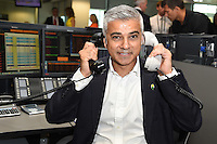 Sadiq Khan<br /> on the trading floor for the BGC Charity Day 2016, Canary Wharf, London.<br /> <br /> <br /> &copy;Ash Knotek  D3152  12/09/2016