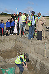 Mairead McGuinness, MEP and children from Dillonstown NS at the Site where archaeologists believe they have found the remains of a huge Viking fortress near the village of Annagassan in Co Louth...Picture Jenny Matthews/Newsfile.ie