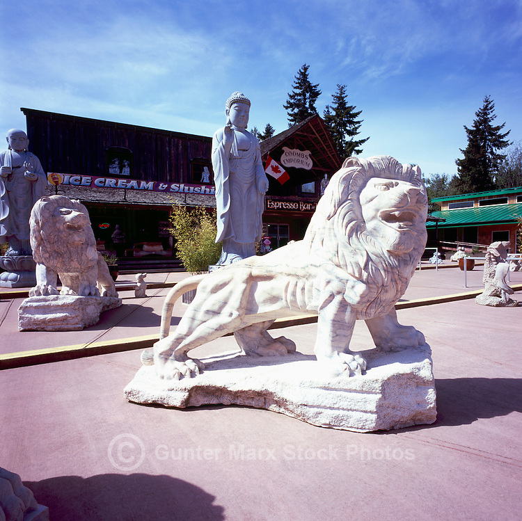 Coombs, BC, near Parksville, Vancouver Island, British Columbia, Canada - Large Stone Sculptures on Display (No Property Release)