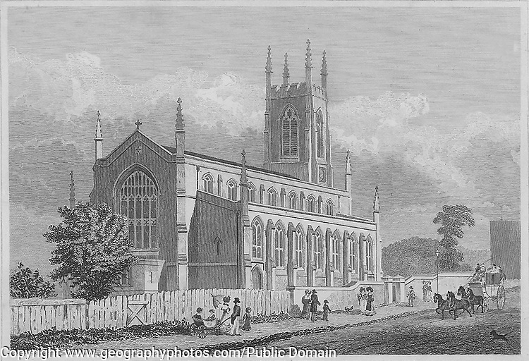St John's church, Holloway, engraving 'Metropolitan Improvements, or London in the Nineteenth Century' London, England, UK 1828 , drawn by Thomas H Shepherd