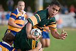 Daniel Crichton looks for support as Kane Hancy makes the tackle. CMRFU Counties Power Premier Club Rugby game between Patumahoe & Pukekohe played at Patumahoe on April 12th, 2008..The halftime score was 10 all with Pukekohe going on to win 23 - 18.