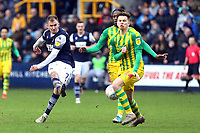 Jed Wallace of Millwall and Conor Townsend of West Bromwich Albion during Millwall vs West Bromwich Albion, Sky Bet EFL Championship Football at The Den on 9th February 2020