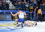BROOKINGS, SD - JANUARY 18: Connor Brown from South Dakota State University celebrates his win over Drake Foster from Wyoming during their 125 pound match Thursday night at Frost Arena in Brookings. (Photo by Dave Eggen/Inertia)