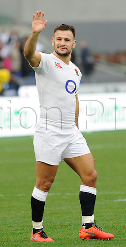14.02.2016. Stadio Olimpico, Rome, Italy. RBS Six Nations Championships. Italy versus England. Danny Care celebrates the win