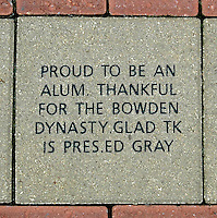 TALLAHASSEE, FL. 8/1/07- A block commemorating the work of Florida State University Football Coach Bobby Bowden and President T.K. Wetherell's is in a walkway outside the entrance to the Moore Athletic Center at Doak Campbell Stadium in Tallahassee. While Wetherell, who is now the president of FSU, was speaker of the house from 1990-92 he secured funding to renovate the exterior of the stadium and attach several classroom buildings to it's exterior. COLIN HACKLEY PHOTO