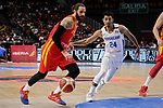 Ricky Rubio of Spain and Gelvis Solano of Dominican Republic during the Friendly match between Spain and Dominican Republic at WiZink Center in Madrid, Spain. August 22, 2019. (ALTERPHOTOS/A. Perez Meca)