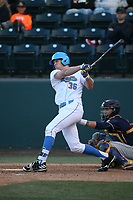 Jake Pries (36) of the UCLA Bruins bats against the California Bears at Jackie Robinson Stadium on March 25, 2017 in Los Angeles, California. UCLA defeated California, 9-4. (Larry Goren/Four Seam Images)