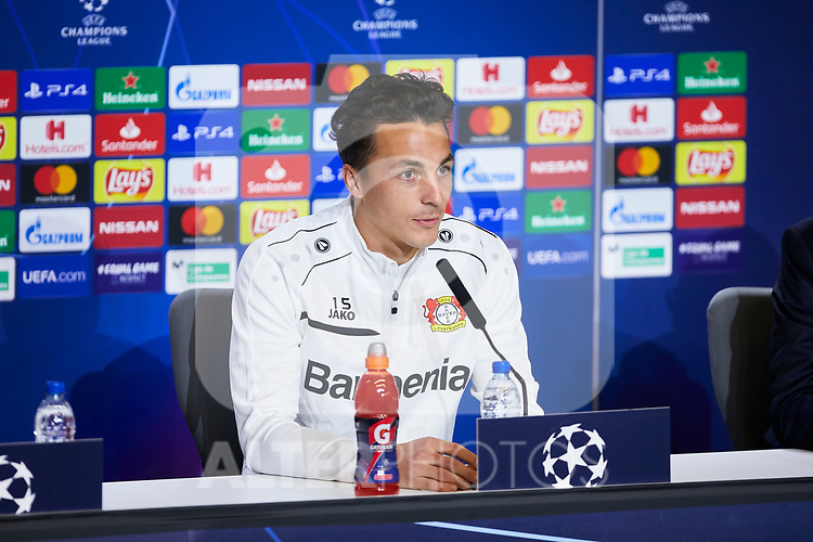 Julian Baumgartlinger during the Press Conference before the UEFA Champions League match between Atletico de Madrid and Bayer 04 Leverkusen at Wanda Metropolitano Stadium in Madrid, Spain. October 21, 2019. (ALTERPHOTOS/A. Perez Meca)