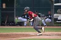 AZL Diamondbacks second baseman Blaze Alexander (3) starts down the first base line during an Arizona League game against the AZL White Sox at Camelback Ranch on July 12, 2018 in Glendale, Arizona. The AZL Diamondbacks defeated the AZL White Sox 5-1. (Zachary Lucy/Four Seam Images)