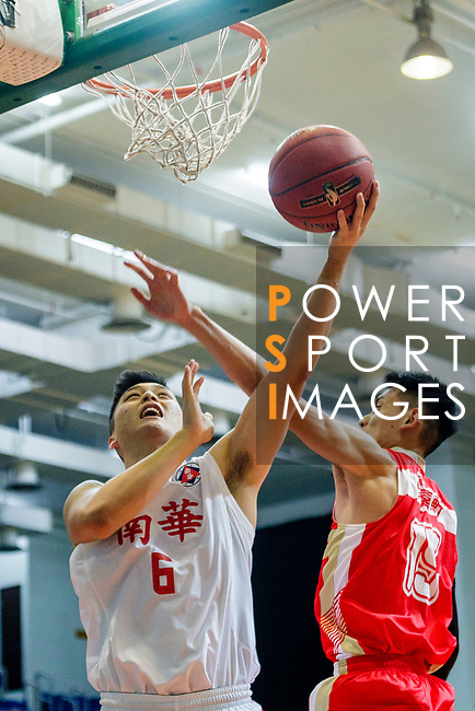 Leung Shiu Wah #6 of South China Athletic Association Men's Basketball Team (L) tries to score next to Ng Ka Hin #15 of Nam Ching Basketball Team (R) during the Hong Kong Basketball League game between SCAA and Nam Ching at Southorn Stadium on May 4, 2018 in Hong Kong. Photo by Yu Chun Christopher Wong / Power Sport Images