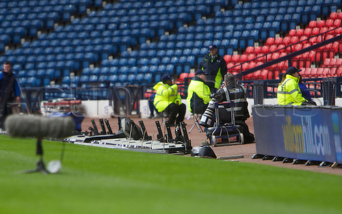 14.03.2013 Glasgow, Scotland.    On a windy day the avertising boards blow down at Hampden  during the Semi Final of the 2013 William Hill Scottish Cup, from Hampden Park Stadium, Glasgow.